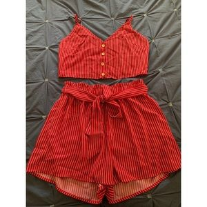 Shein red and white striped matching set.